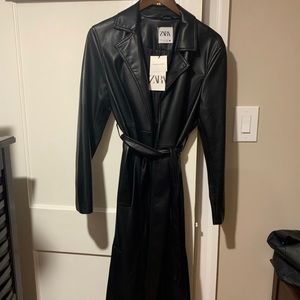 Zara Faux Leather Trench Coat